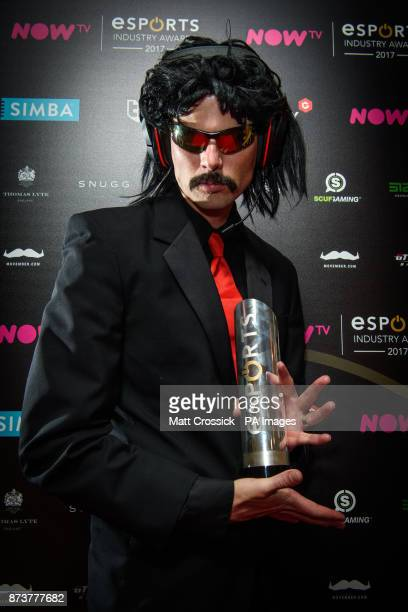 Dr Disrespect with the Streamer of the Year award, backstage at the NOW TV Esports Industry Awards 2017, at the Brewery in London. PRESS ASSOCIATION...