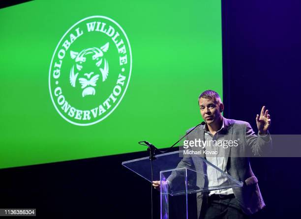 Dr Don Church President Global Wildlife Conservation presents onstage at Global Wildlife Conservation's Wild Night For Wildlife annual gala hosted by...