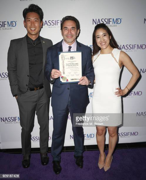 R Dr Donald Yoo Dr Paul Nassif and Dr Grace Lee Peng unveils Dr Paul Nassif new medical spa with grand opening and ribbon cutting ceremony on March 7...