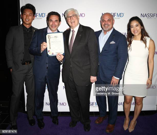 Dr Donald Yoo Dr Paul Nassif Julian A Gold Todd Johnson and Dr Grace Lee Peng unveils Dr Paul Nassif new medical spa with grand opening and ribbon...