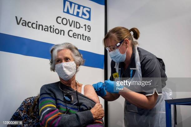 Dr, Doreen Brown receives the first of two Pfizer/BioNTech Covid-19 vaccine jabs at Guy's Hospital at the start of the largest ever immunisation...