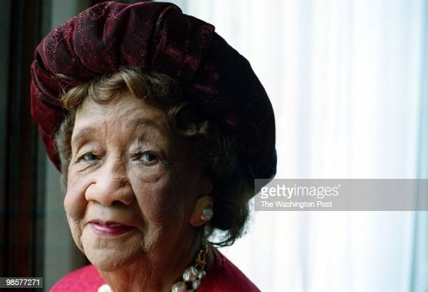 Dr Dorothy Height chairwoman of the National Council of Negro Women in the lobby of the building at 633 Pennsylvania Ave NW owned by the organization...