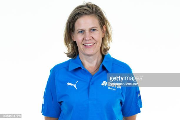 Dr Dr Nicole Vennemann poses during the 1 FFC Frankfurt Women's team presentation on September 7 2018 in Frankfurt am Main Germany i