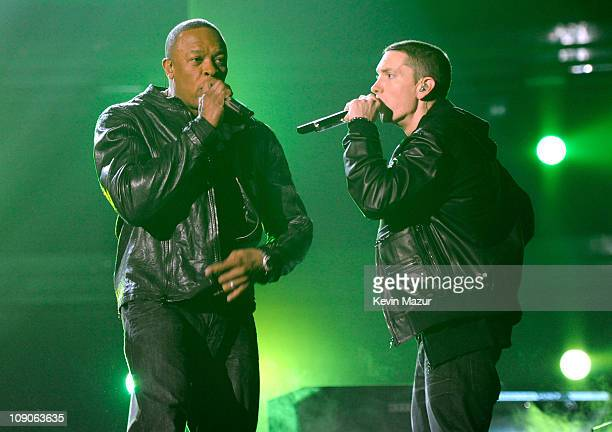 Dr Dre and Eminem perform onstage during The 53rd Annual GRAMMY Awards held at Staples Center on February 13 2011 in Los Angeles California