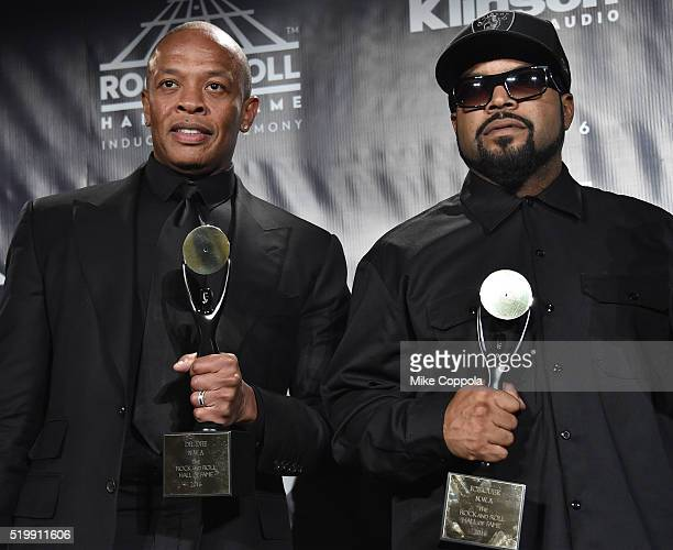 Dr Dre and Ice Cube of NWA attend the 31st Annual Rock And Roll Hall Of Fame Induction Ceremony at Barclays Center on April 8 2016 in New York City