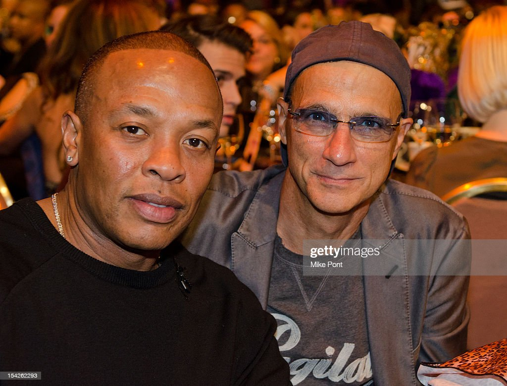 Dr Dre and Jimmy Iovine attend The Little Kids Rock's 10th Anniversary Celebration at Manhattan Center Grand Ballroom on October 16, 2012 in New York City.