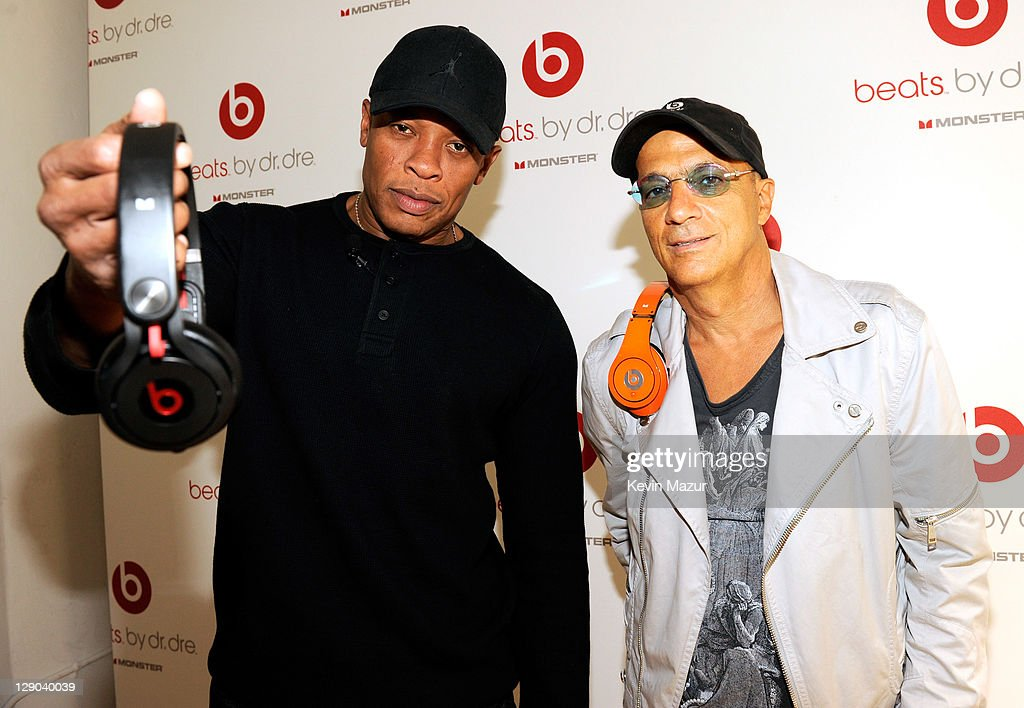 Dr. Dre and Jimmy Iovine attend the unveiling of Beats By Dr. Dre 2011 holiday product line-up at CLVT on October 11, 2011 in New York City.