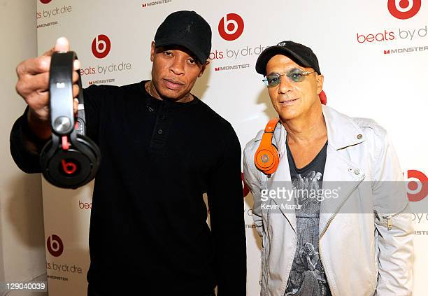 Dr Dre and Jimmy Iovine attend the unveiling of Beats By Dr Dre 2011 holiday product lineup at CLVT on October 11 2011 in New York City