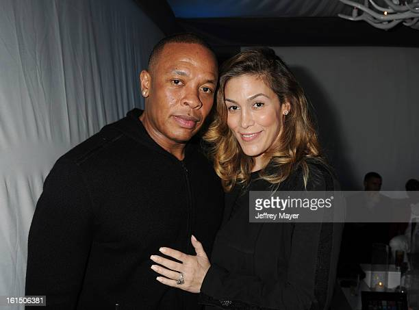 Dr Dre and Nicole Threatt attend the Universal Music Group Chairman CEO Lucian Grainge's annual Grammy Awards viewing party on February 10 2013 in...