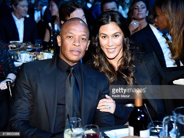 Dr Dre and Nicole Young attend 31st Annual Rock And Roll Hall Of Fame Induction Ceremony at Barclays Center of Brooklyn on April 8 2016 in New York...