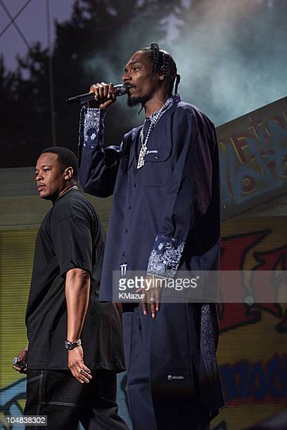 Dr Dre and Snoop Dog Doggie during Experience Music Project Opening Gala at Experience Music Project in Seattle Washington United States