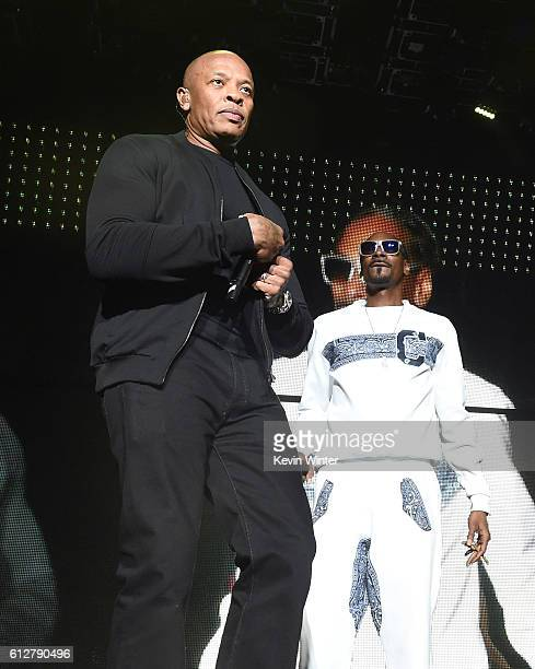 Dr Dre and Snoop Dogg perform onstage during the Bad Boy Family Reunion Tour at The Forum on October 4 2016 in Inglewood California