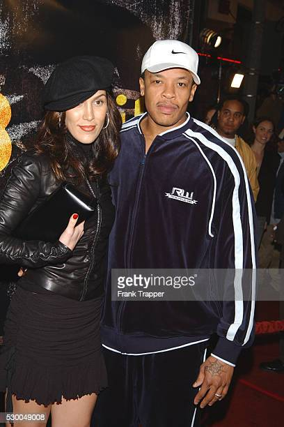 Dr Dre and wife Nicole arriving at the premiere of 8 Mile