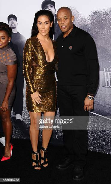 Dr Dre and wife Nicole Young attend the premiere of 'Straight Outta Compton' at Microsoft Theater on August 10 2015 in Los Angeles California