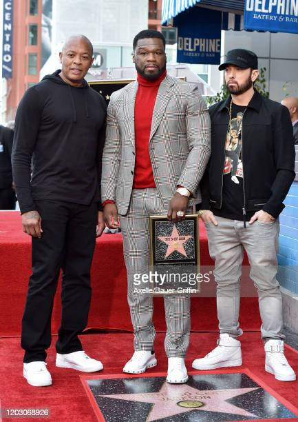 """Dr. Dre, Curtis """"50 Cent"""" Jackson and Eminem attend the ceremony honoring Curtis """"50 Cent"""" with a Star on the Hollywood Walk of Fame on January 30,..."""