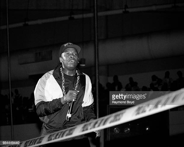 Dr Dre from NWA performs during the 'Straight Outta Compton' tour at the Mecca Arena in Milwaukee Wisconsin in June 1989