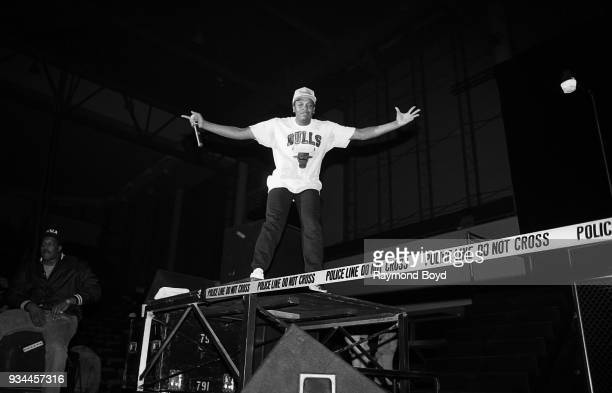 Dr Dre from NWA performs during the 'Straight Outta Compton' tour at the Genesis Convention Center in Gary Indiana in July 1989