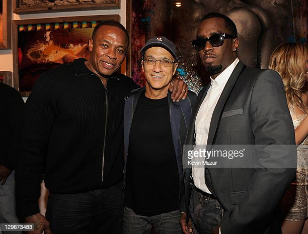 Dr Dre Interscope Geffen AM Chairman Jimmy Iovine and Sean 'Diddy' Combs attend CULO by Mazzucco book and art exhibition launch at Tony Shafrazi...