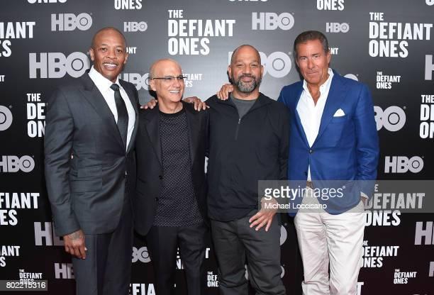 Dr Dre Jimmy Iovine Allen Hughes and Richard Plepler attend 'The Defiant Ones' premiere at Time Warner Center on June 27 2017 in New York City