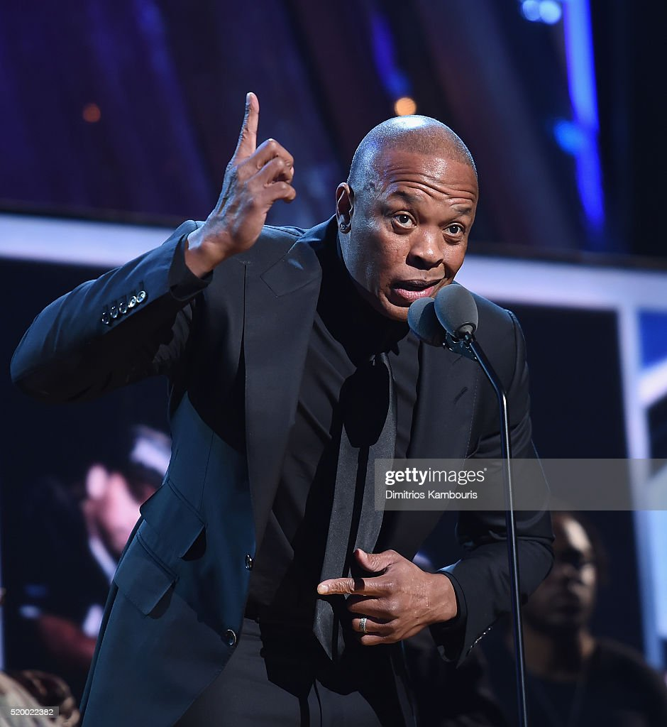Dr. Dre of N.W.A. speaks onstage at the 31st Annual Rock And Roll Hall Of Fame Induction Ceremony at Barclays Center of Brooklyn on April 8, 2016 in New York City.
