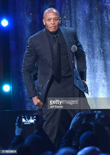 Dr Dre speaks on stage at the 31st Annual Rock And Roll Hall Of Fame Induction Ceremony at Barclays Center on April 8 2016 in New York City