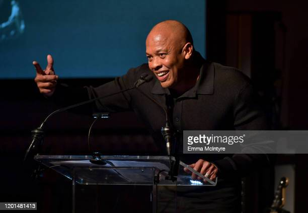 Dr Dre speaks onstage during the Producers Engineers Wing 13th annual GRAMMY week event honoring Dr Dre at Village Studios on January 22 2020 in Los...