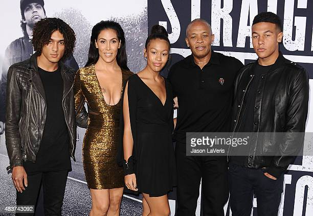 Dr Dre wife Nicole Young and family attend the premiere of Straight Outta Compton at Microsoft Theater on August 10 2015 in Los Angeles California