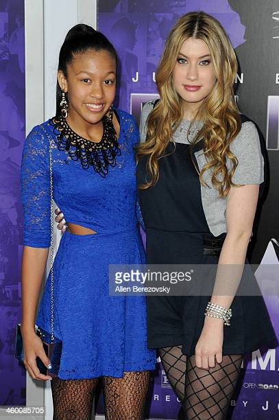 Dr Dre's daughter Truly Young and singer Maddie Simpson attend the premiere of Open Road Films' 'Justin Bieber's Believe' at Regal Cinemas LA Live on...