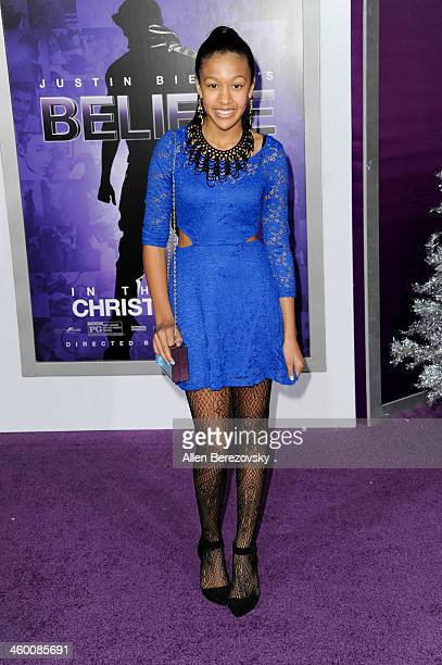 Dr Dre's daughter Truly Young attends the premiere of Open Road Films' 'Justin Bieber's Believe' at Regal Cinemas LA Live on December 18 2013 in Los...