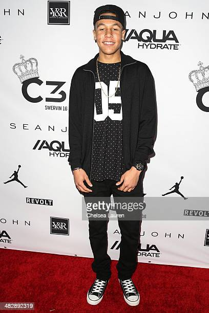 Dr Dre's son Truth Young arrives at Christian Casey Combs' 16th birthday party at 1OAK on April 4 2014 in West Hollywood California