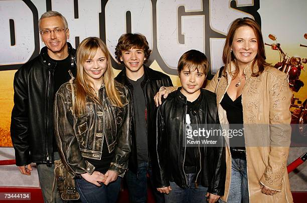 Dr Drew Pinsky daughter Paulina sons Douglas and Jordan and wife Susan arrive at the premiere of Wild Hogs at the El Capitan Theater on February 27...