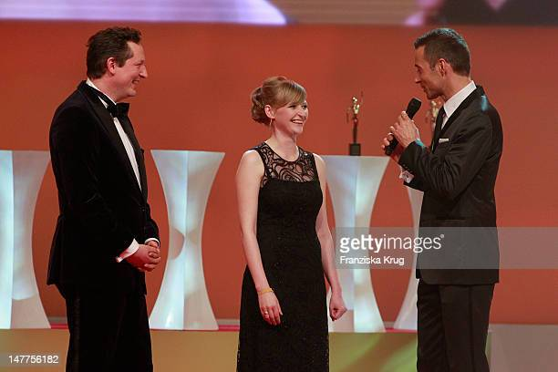 Dr Eckart von Hirschhausen Anja Kersten and Kai Pflaume attends the Golden wife Awards at the Axel Springer Haus on March 21 2012 in Berlin Germany