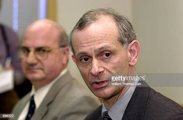 Dr. Eddy Bresnitz of the NJ Dept. Of Health and Senior Services, and Dr. David Condoluci, l of Kennedy Health System, speak to the media at a news...
