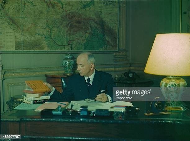 1943 Dr Edvard Benes at his desk President of Free Czechoslovakia during World War Two February 1943