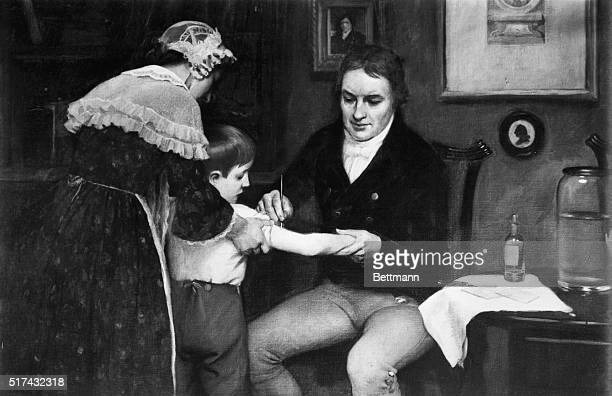 Dr Edward Jenner British physician performing his first vaccination on James Phipps a boy of eight on May 14 1796 Painting by E Board in the Welcome...