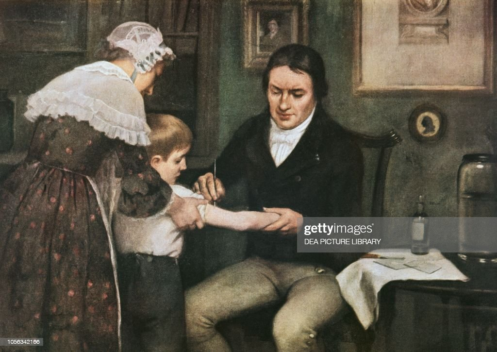 Dr Edward Jenner performing vaccination : News Photo