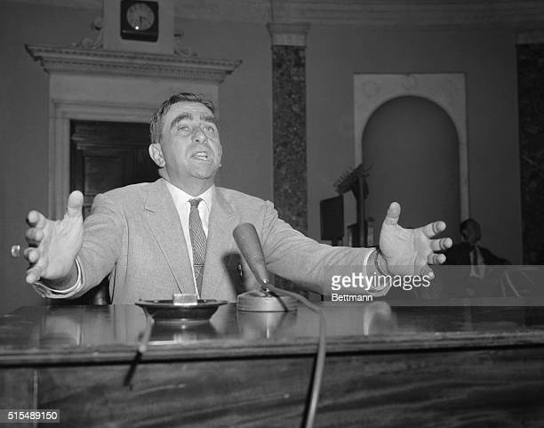 "Dr. Edward Teller, ""Father of the H-Bomb,"" gestures during his appearance before a joint Atomic Energy Subcommittee. Teller told the subcommittee..."