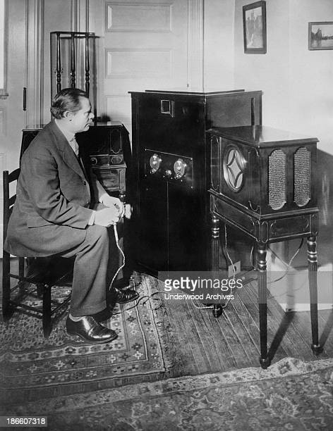 Dr EF Alexanderson of GE and RCA and inventor of the radio television process where a listener can see as well as listen to the broadcast operating...