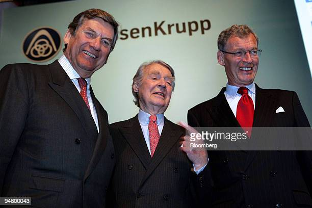 Dr. Ekkehard Schulz, chairman of the executive board of ThyssenKrupp AG, left, Berthold Beitz, chairman of the Alfried Krupp von Bohlen und...