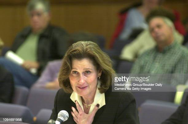 Dr Elizabeth 'Betsy' Hoffman President of the University of Colorado responds to questions during the Independent Investigative Commission hearings...