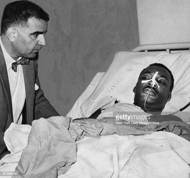 Dr Emil A Naclerio visits the Rev Martin Luther King Jr in Harlem Hospital