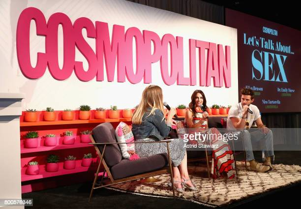 Dr Emily Morse and Nico Tortorella speak on stage during the Cosmopolitan Let's Talk About It Event on June 24 2017 in New York City