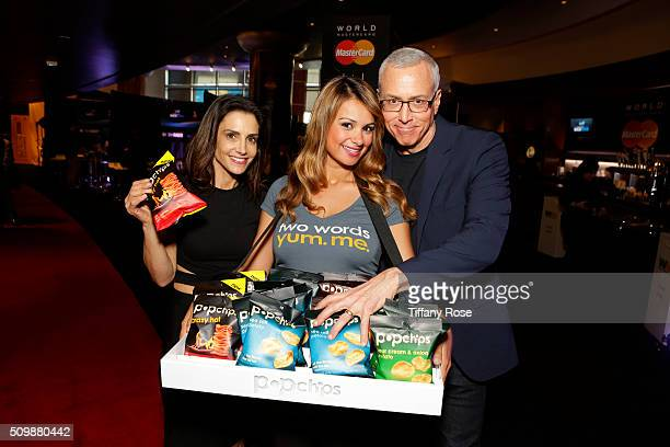 Dr Emily Morse guest and Dr Drew at popchips and Westwood One's Backstage at The GRAMMYS at Staples Center on February 12 2016 in Los Angeles...