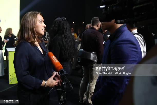 Dr Farah Palmer speaks to media during the Rugby World Cup 2021 Draw event at the SKYCITY Theatre on November 20, 2020 in Auckland, New Zealand.