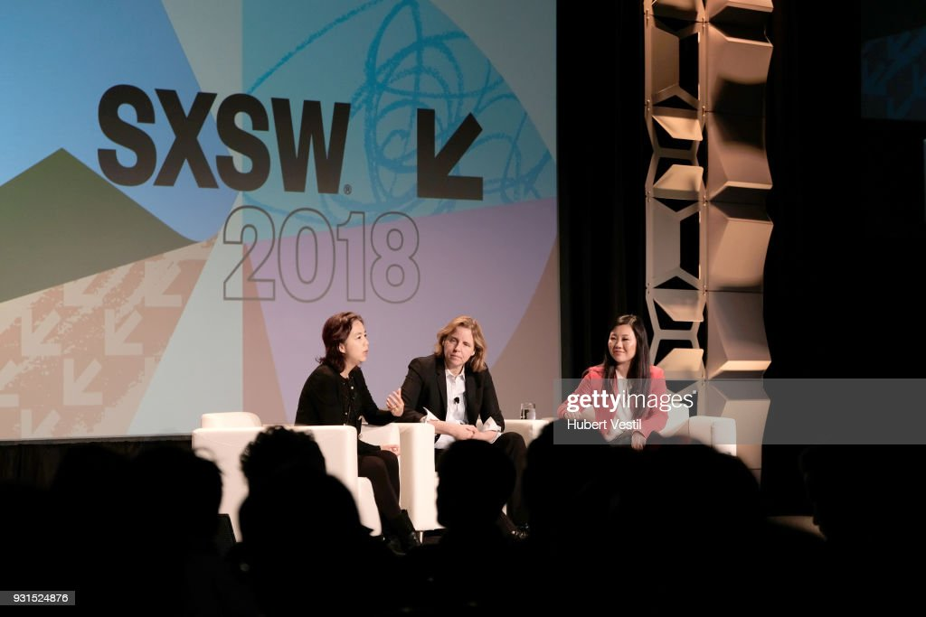 Dr. Fei-Fei Li, Megan Smith, and Joanne Chen speak onstage at Democratizing AI for Individuals & Organizations during SXSW at Austin Convention Center on March 13, 2018 in Austin, Texas.
