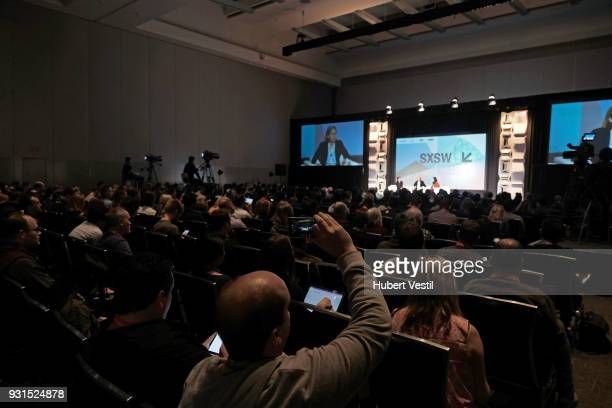 Dr FeiFei Li Megan Smith and Joanne Chen speak onstage at Democratizing AI for Individuals Organizations during SXSW at Austin Convention Center on...