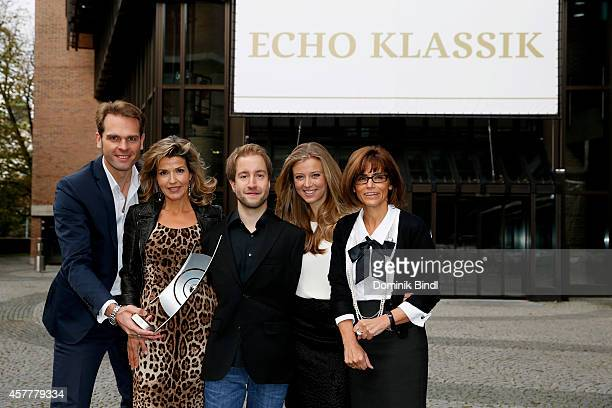 Dr Florian Druecke AnneSophie Mutter Felix Klieser Nina Eichinger and AncaMonica Pandelear attend the ECHO Klassik 2014 photo call at Philharmonie on...