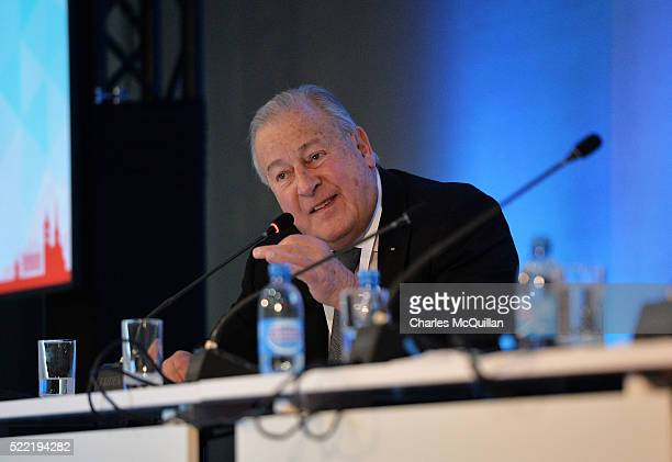 Dr Francois Carrard, Chairman of the FIFA Reform Committee addresses the delegates attending the LawAccord joint session with the Court of...