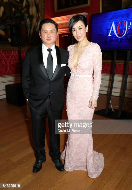 Dr Frank Cintamani and Emily Hwang attend the official COUTURiSSIMO UK launch at The Orangery at Kensington Palace during London Fashion Week on...