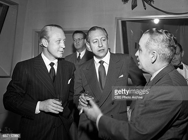 Dr Frank Stanton and William S Paley at the CBS executive Christmas party Image dated December 24 1947 New York NY